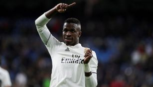 Vinicius Junior celebra una anotación con el Real Madrid