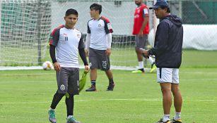 Chofis López y Cardozo, durante un entrenamiento con Chivas