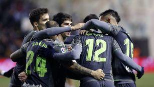 Real Sociedad festejando el gol del empate
