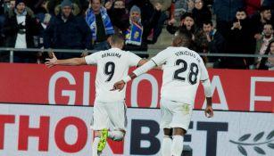 Benzema celebra anotación del Real Madrid en Copa del Rey