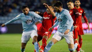 Jugadores del Celta en el juego ante Sevilla