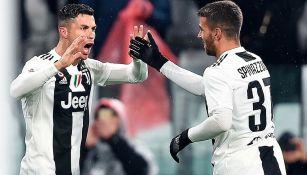 CR7 festeja uno de sus goles con Juventus en Serie A