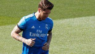 Sergio Ramos en una práctica del Real Madrid