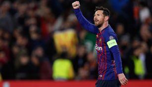 Messi festeja uno de sus goles contra Lyon