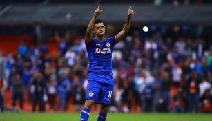 Elías Hernández, celebra durante un duelo de La Máquina