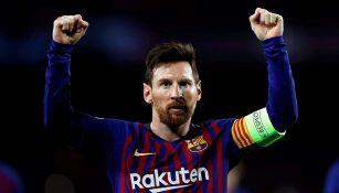 Lio Messi en un partido con el Barcelona