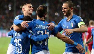 La Selección de Italia celebra una anotación ante el Liechtenstein