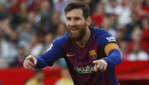 Messi celebrando un gol con el Barcelona