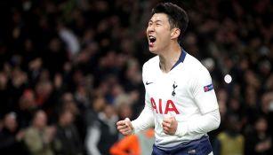 Heung-min Son celebra gol contra el Manchester City
