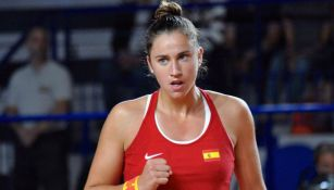La tenista Sara Sorribes celebra triunfo