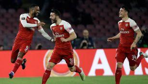 Así festejó el Arsenal el gol contra Nápoles