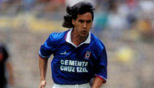 Guadalupe Castañeda, durante un juego con Cruz Azul