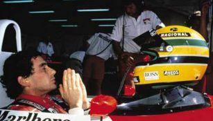 Ayrton Senna antes de una carrera