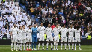 Jugadores del Real Madrid previo a un partido en el Bernabéu