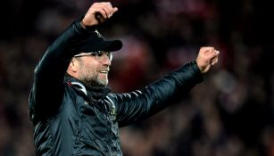 Jürgen Klopp festeja un gol del Liverpool