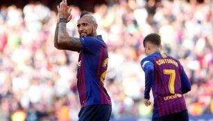 Vidal celebrando un gol ante el Getafe