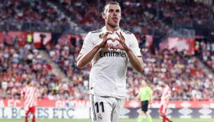 Bale celebra un tanto con el Real Madrid en La Liga