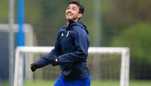 Alanís, durante un entrenamiento con el Oviedo