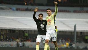 Diego Lainez y Edson Álvarez previo a juego del América en 2017