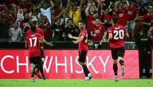 Jugadores del Manchester United en festejo