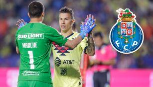 Agustín Marchesín y Mateus Uribe durante un partido con América