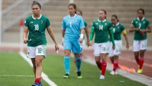 Jugadoras de México tras derrota ante Paraguay