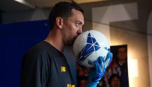 Agustín Marchesín a su llegada al Porto