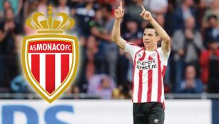 Chucky Lozano celebra una anotación con el PSV