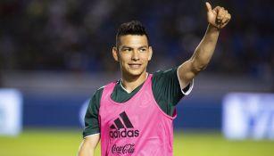 Hirving Lozano previo a un partido contra Costa Rica