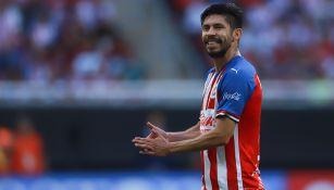 Oribe Peralta, durante juego de Chivas contra Tigres