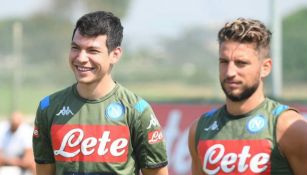 Lozano, en un entrenamiento del Napoli
