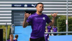 Gabriel Jesus, en entrenamiento del Manchester City