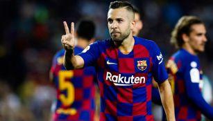Jordi Alba celebra una anotación con el Barcelona