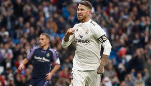 Sergio Ramos celebra un tanto con el Real Madrid
