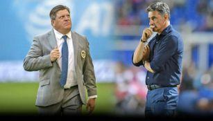 Miguel Herrera y Michel, técnicos de América y Pumas