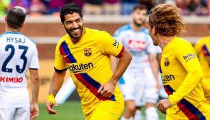 Luis Suárez celebra una anotación con el Barcelona