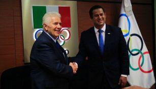 Diego Sinhue y Carlos Padilla durante el evento de postulación