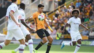 Raúl Jiménez, en el partido ante Chelsea