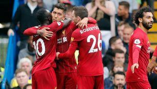 Firmino celebra su gol contra Chelsea