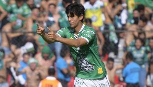 JJ Macías, en festejo de gol con León