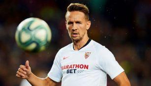 Luuk de Jong, en el juego entre Barcelona y Sevilla