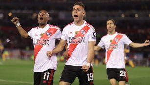Borré festeja gol contra Boca Juniors