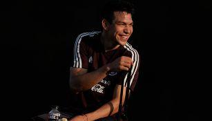 Chucky Lozano, durante un entrenamiento con la Selección Mexicana