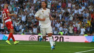 Hazard celebra gol con el Real Madrid