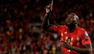 Romelu Lukaku celebrando su anotación con Bélgica