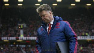 Louis Van Gaal durante un partido del Manchester United