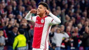 Alvarez, en festejo con el Ajax
