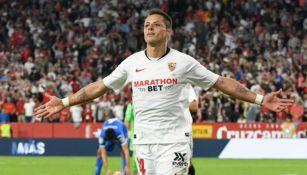 Chicharito festeja su gol ante el Getafe