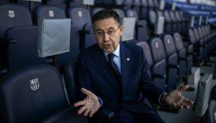 Josep Bartomeu durante una entrevista con The Associated Press en el estadio Camp Nou de Barcelona