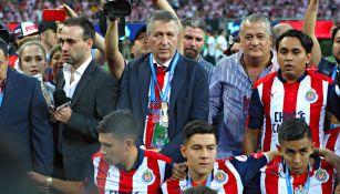 Jorge Vergara durante el título de Chivas frente a Tigres en el 2017